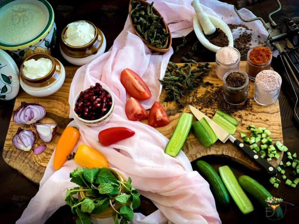 Mixed Vegetable Raita Ingredients