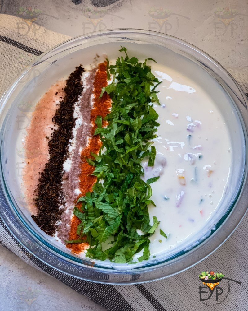Spices on Mixed Vegetable Raita