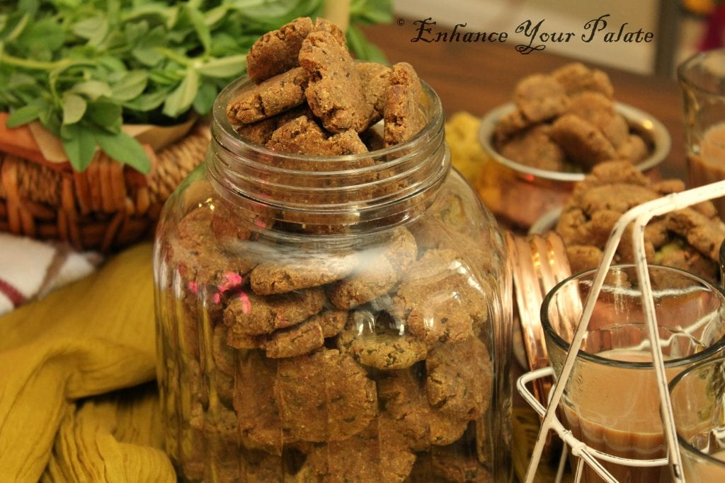 Multigrain Methi Baked Mathri (Fenugreek Savory Crackers )