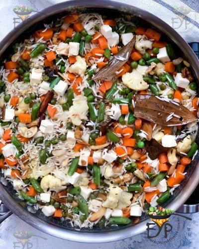 cooked navratan Pulao