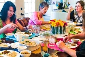 Particpants Enjoying Indian Food