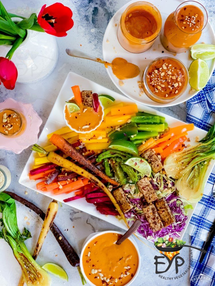 serve peanut satay sauce with assorted veggie stick platter