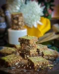 Peanut Til Makhana Burfi (Peanut Sesame and Fox Nut Fudge) recipe from Enhance Your Palate