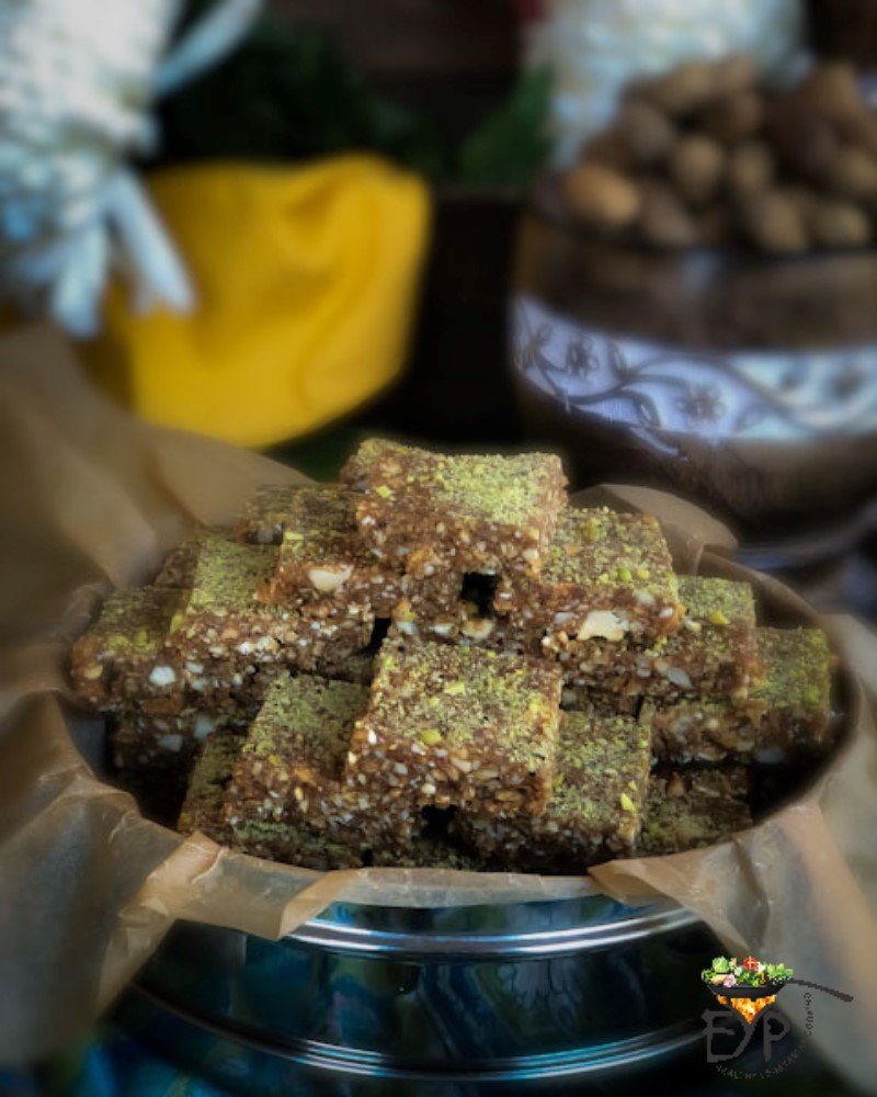 Peanut Til Makhana Burfi (Peanut Sesame and Fox Nut Fudge) recipe from Enhance Your Palate