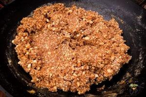Peanut Til Makhana Burfi being prepared - before setting