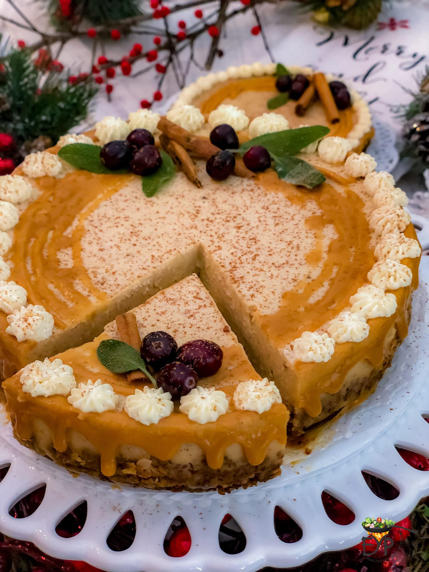 Instant Pot recipe for egg-less Pumpkin Spice Cheesecake made with Greek yogurt instead of cream cheese and enhanced with butterscotch ganache to bring out the maximum Oomph….! of this holiday season dessert.