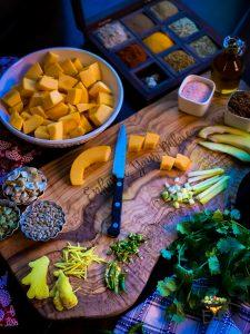 Ingredients for Sweet and Sour Pumpkin Curry – Khatta Meetha Kaddu