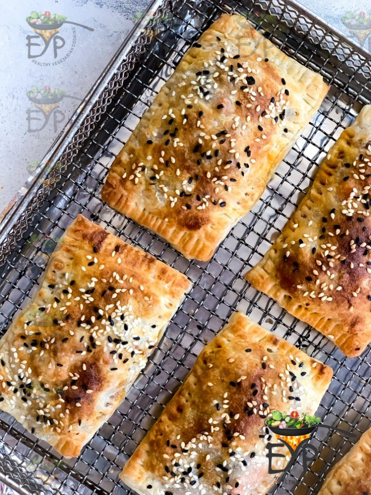 Curry Puff - Veg Puff Recipe on air-frying tray