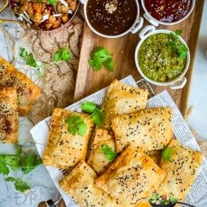 Curry Puff - Veg Puff Recipe served with sauces