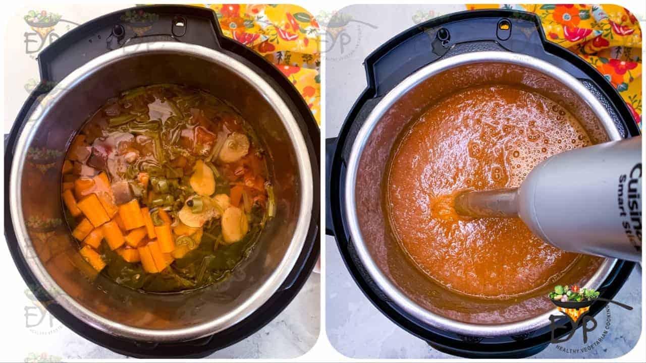 boiled vegetables being blended