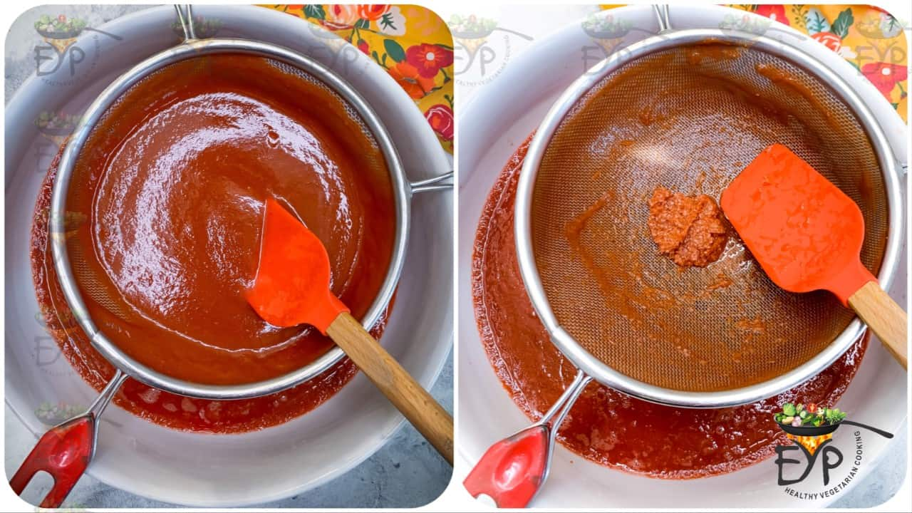 pureed tomato being sieved