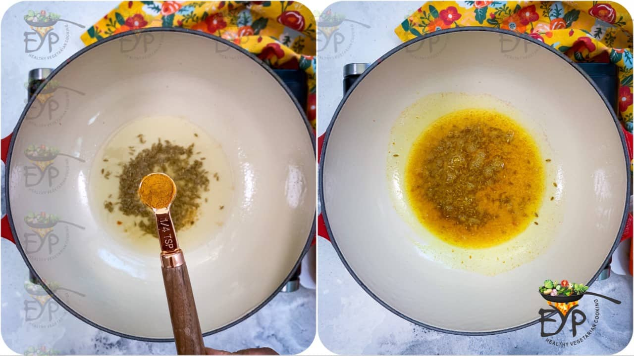 cumin seeds sputtering in the oil and turmuric being added