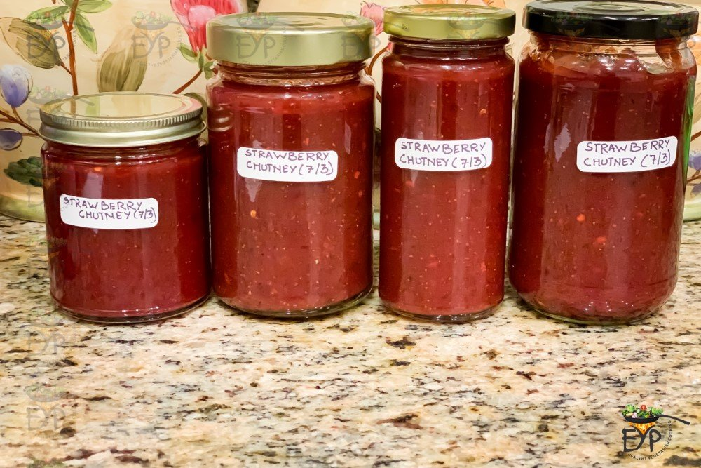Strawberry Chutney stored in dry glass jars