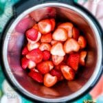 Washed, hulled and cleaned strawberries in instant pot for strawberry chutney