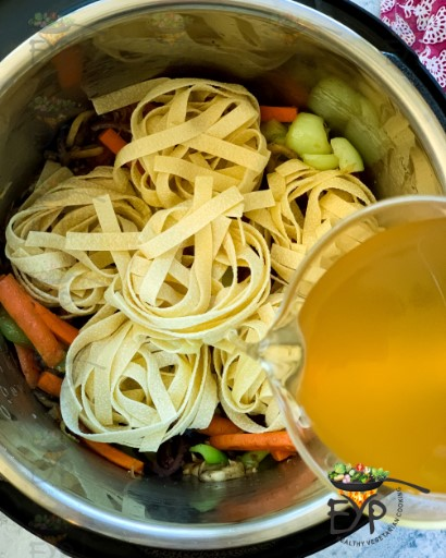 Vegetable stock being added
