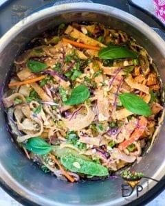 Thai Peanut Noodles ready to serve.