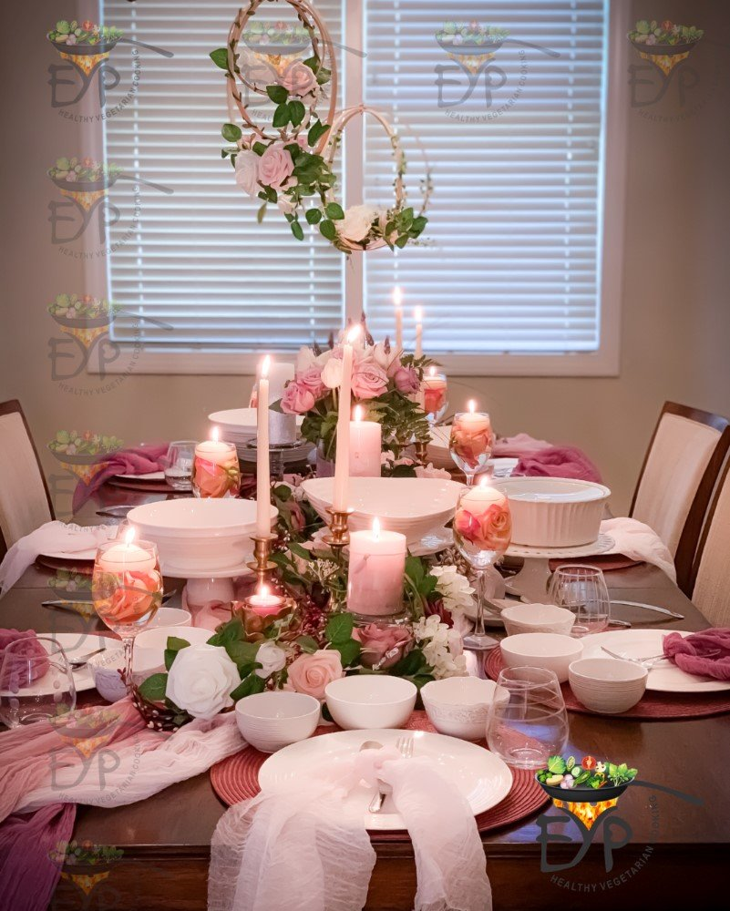 Valentine day table setting in pastel colors