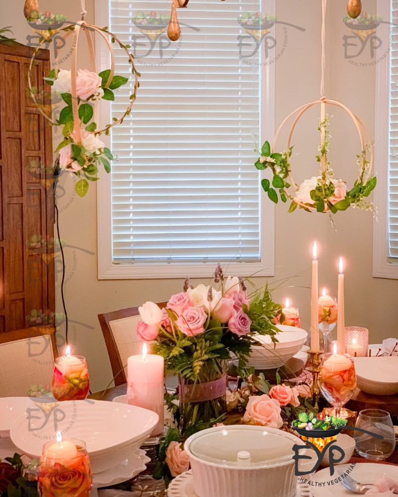Floral hoop wreath used in Valentine Day Decor