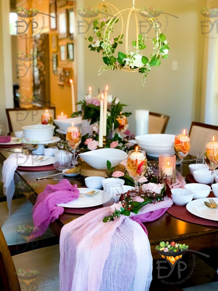 Overflowing table runners in pastel colors for the valentine day table setting