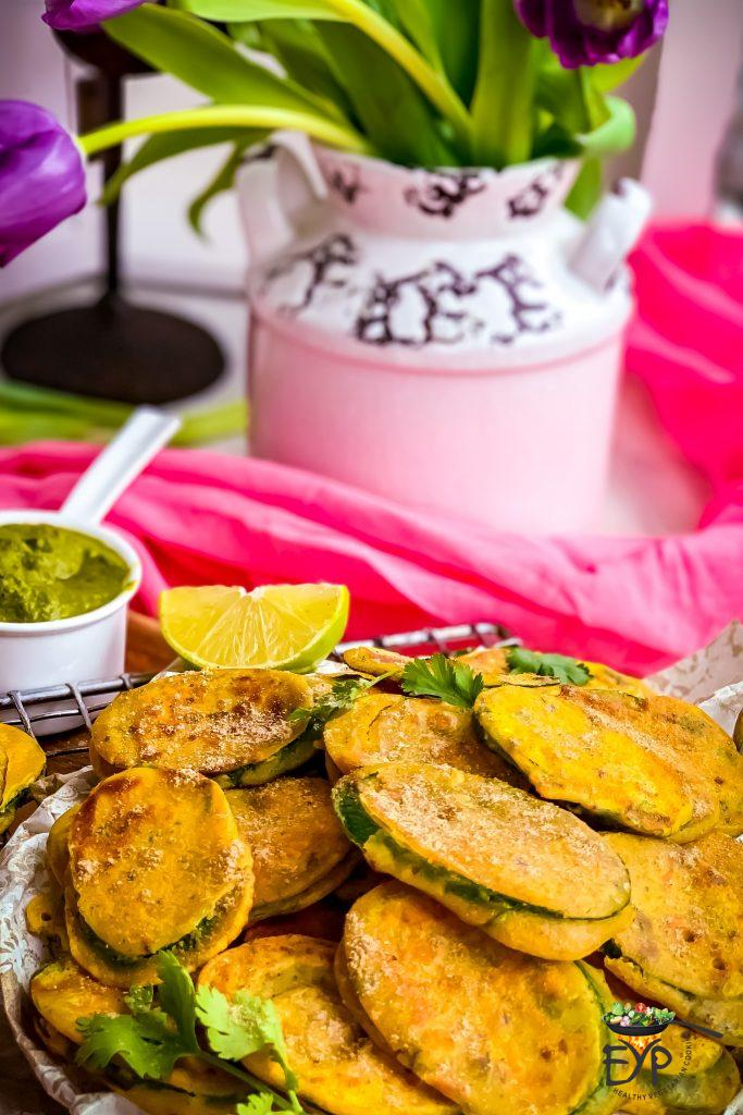 Zucchini fritters sprinkled with garam masala