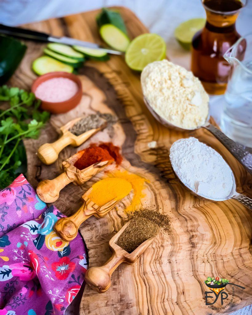 Vegan and Gluten free ingredients for zucchini fritters